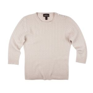 JCREW 100% Cashmere Nude Beige Cable Knit Sweater